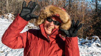Geneviève en hiver dans le Rouayras, le 03 décembre 2017