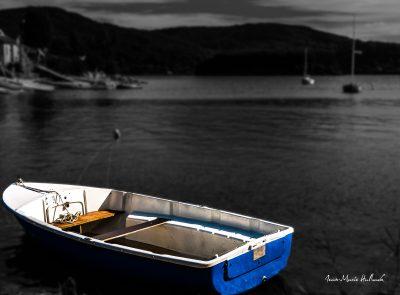 Lac du Laouzas. Barque au coucher du soleil
