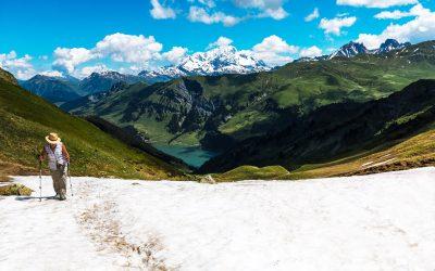 Approche du col de la Louze (2232). En fond : le Mont Blanc