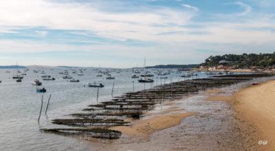Arcachon. Vu depuis la jetée du Canon, parc à huîtres à marée montante