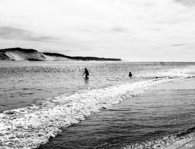 Acachon. Octobre 2017, baignade depuis le banc d'Arguin dans la passe sud à marée montante